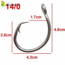 30pcs 39960 Stainless Steel Fishing Hooks White Thick Big Game Fish Tuna Circle Bait Fishing Hook Size 14/0