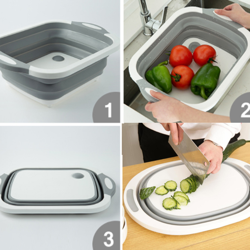 Drain-Basket Cutting-Board Kitchen-Organizer Multi-Function Folding 3-In-1 title=