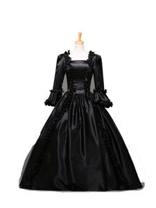 Victorian Dress Theatre-Clothing Prom-Gowns Belle Renaissance Period Hot-Sale Black Gothic