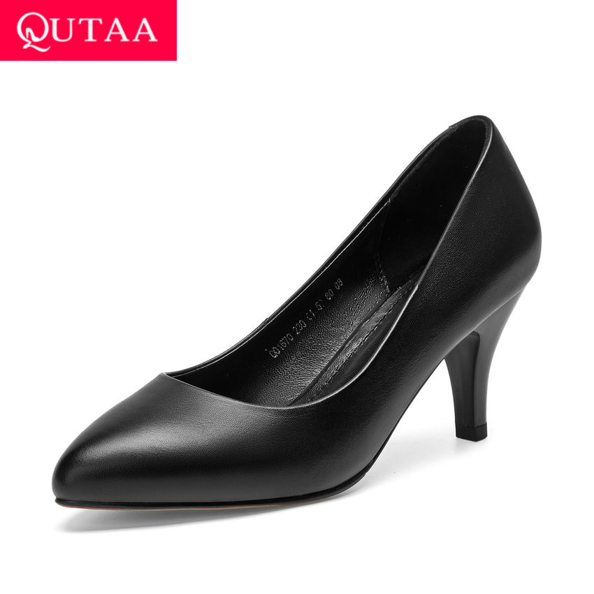 QUTAA 2020 Women Shoes Fashion Cow Leather pu Women Pumps Shallow Thin High Heel OL Shoes