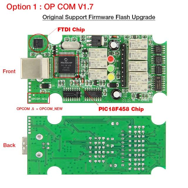 2017 OBD2 OP-COM V1.70 OPCOM pour Opel Voiture De Diagnostic Scanner avec Réel PIC18f458 pour Opel OP COM Outil De Diagnostic Flash Firmware