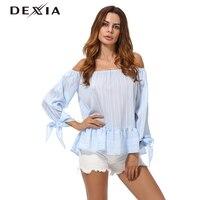 DEXIA Blusa Bordada Elegant Bow Off Shoulder Female Blouse Shirt Sexy Summer 2017 Girls Blue Blouse
