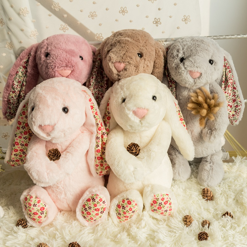 1 piece 30cm HOT SALE Cute Kawaii Small floral long ears Rabbit  plush toy doll super soft child  boy girl baby doll gift! 50cm cute plush toy kawaii plush rabbit baby toy baby pillow rabbit doll soft children sleeping doll best children birthday gift