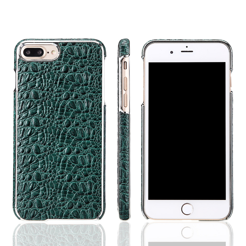 (1PC) Fierre Shann Crocodile Pattern Plating For Iphone7Plus Genuine Leather Case For Iphone 7 Plus Back Cover Coque Fundas