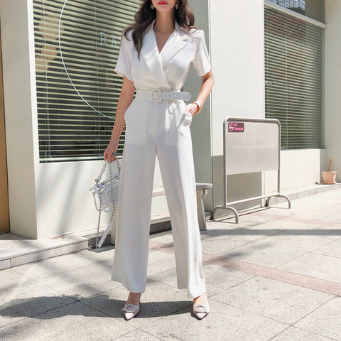Office Ladies Notched Collar Short Sleeve Sashes Women Jumpsuit Elegant Work Business Wide Leg Pant White Jumpsuits Female 2019 Multan
