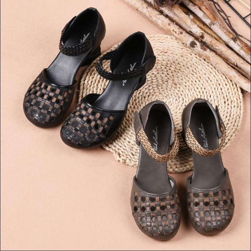 Summer sandals female breathable hollow baotou Genuine Leather shoes handmade shoes women popular Rough heel sandals