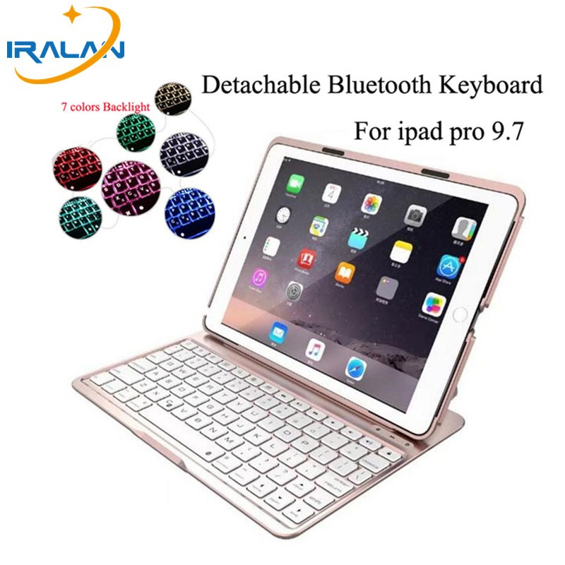 2017 new arrival 7 Colors Backlit Light Wireless Bluetooth Keyboard case For iPad pro 9.7 Cover+Stylus pen+screen protector film universal wired usb keyboard for windows xp window 7 and above androids 3 0 and above keyboard skin cover new arrival