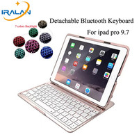 2017 new arrival 7 Colors Backlit Light Wireless Bluetooth Keyboard case For iPad pro 9.7 Cover+Stylus pen+screen protector film