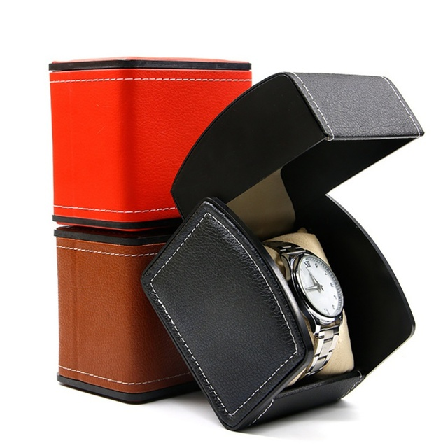 Fashion Watch Box Gift Boxes Genuine Leather Watch Box with Pillow Watch Packagi