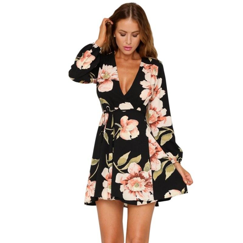 2018 Summer Beach Chiffon Dress Lady Sexy Deep V-neck Flower Print Dresses Black Print Bohemian Style Belt Mini A-Line Dresses