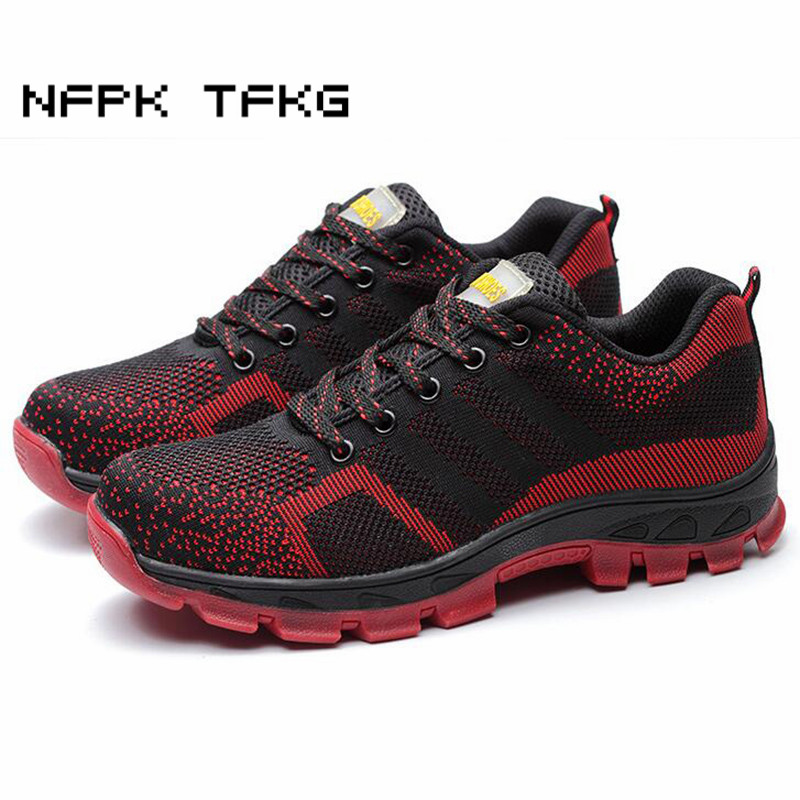 men fashion large size breathable mesh steel toe caps work safety summer shoes non-slip platform anti-puncture tooling boots george vs george
