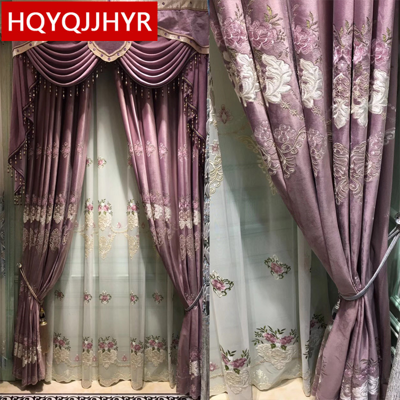 High-end Custom European Embroidery Blackout Velvet Curtains For Living Room Classic Luxury Villa Curtains For Bedroom Windows