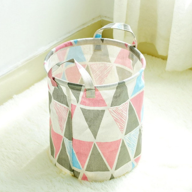 Folding Sundries Basket Storage Toys For Kids Toy Cotton Linen Barrels Small Size