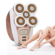 נייד חשמלי שיער הסרת נשים אפילציה ללא כאבים שיער מכונת גילוח שיער פנים הסרת גוף Depilator בטוח 5 להב USB להטעין