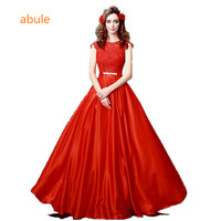 Abule New Sleeveless O Neck Lace Long Evening Dress Cover Back V Neck A Line Bride