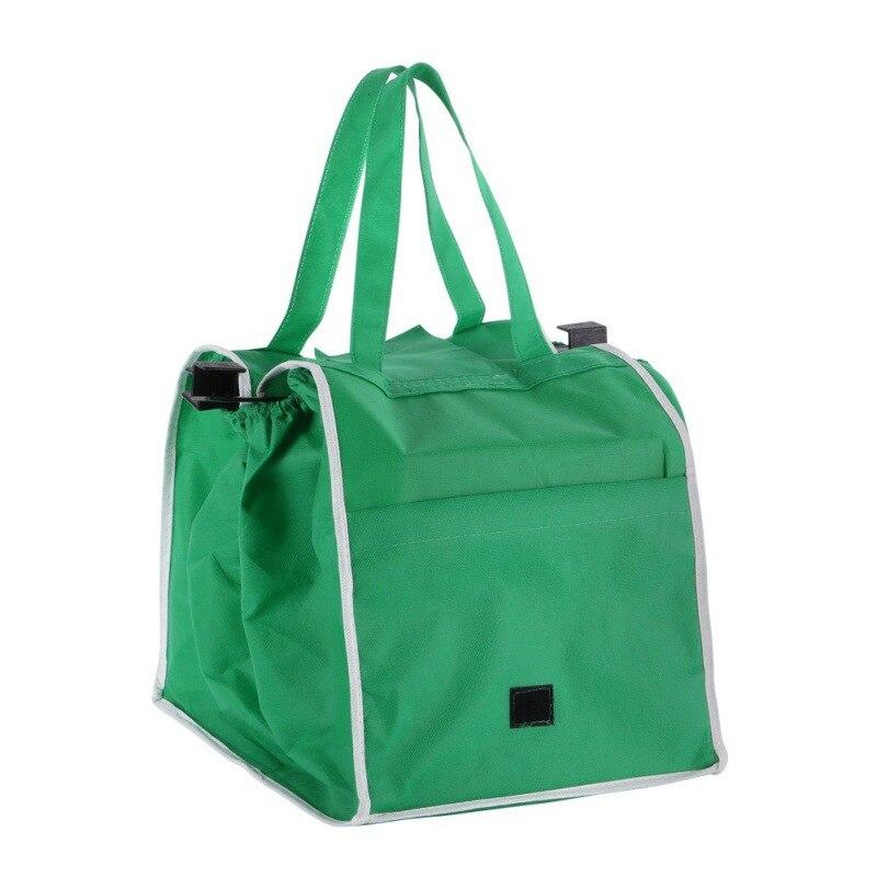 2018 зеленый складная сумка Сумка Многоразовые тележка Клип В корзину Бакалея сумка Портативный