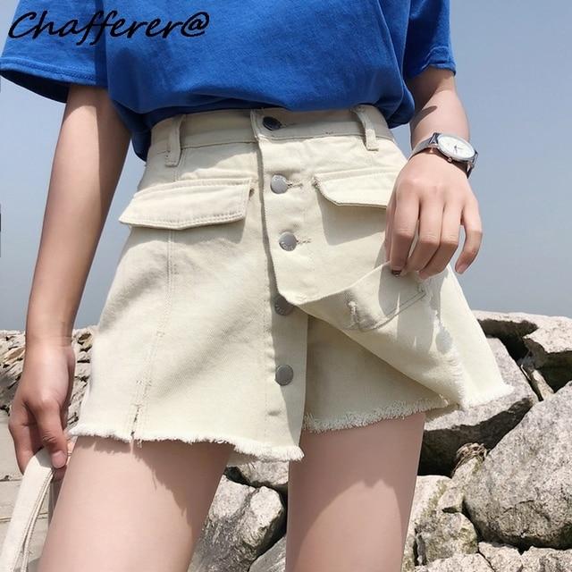 8b0af0fdf9660 Chafferer Plus Size High Waist Ripped Jeans Woman Large Size Fat Mom Summer  Korean Hole Denim Short Loose Wide Leg Hot 5xl Pants