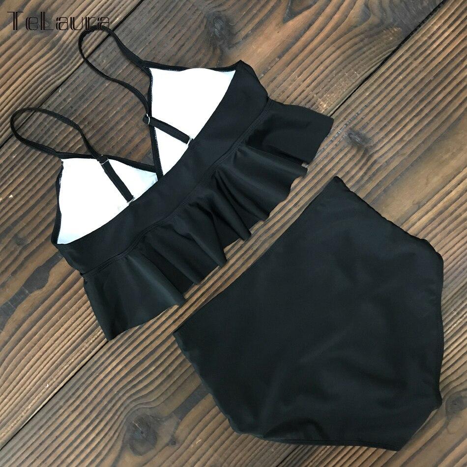 HTB1bG7QVpzqK1RjSZFvq6AB7VXa5 2019 New Sexy High Waist Bikini Swimwear Women Swimsuit Push Up Ruffle Bathing Suit Biquini Plus Size Swimwear Female Beach Wear