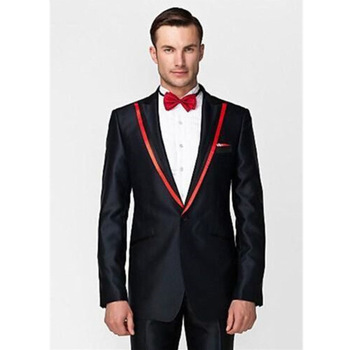 Classic high-quality men's suits black lapel single-breasted men's business office suits and prom dresses (jacket + pants)