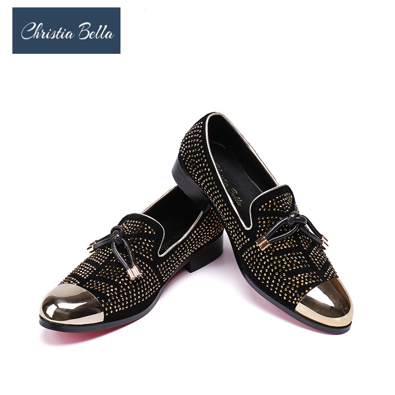 Christia Bella Gold Crystal Handmade Men Loafers Fashion Smoking Slippers Men Party Wedding Formal Dress Shoes Men's Flats цена 2017