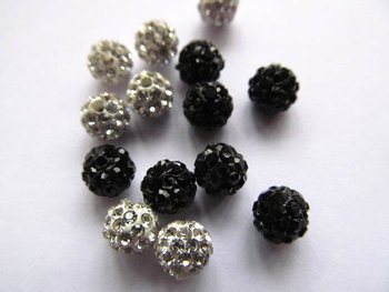high quality 100pcs 4-16mm Micro Pave Clay Crystal rhinestone Round Ball clear white mixed Charm beads