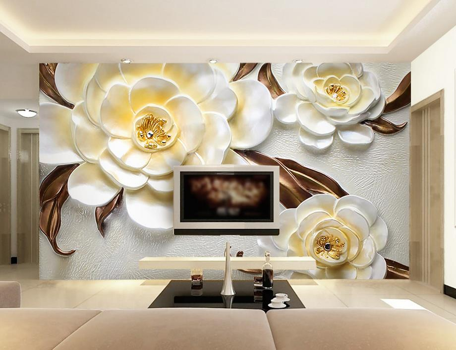 Customize wallpaper for walls 3 d oil painting 3d carved for 3d wallpaper for home india