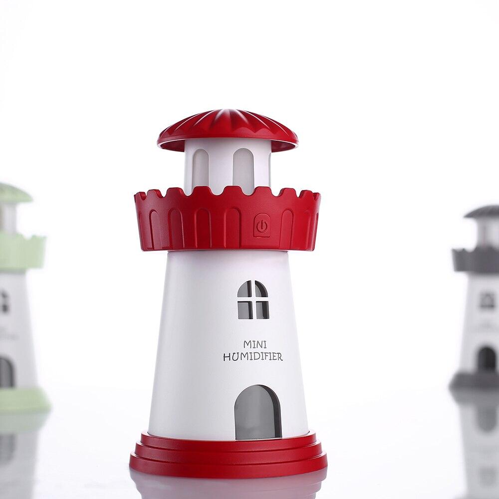 Mini Lighthouse USB Ultrasonic Air Purifier Fogger Car Home Office Desk Mist Maker 5 Color Choice with LED Lights Air Humidifier
