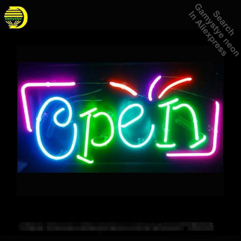 Super Bright OPEN Business Store Neon Bulbs Real Glass Tube Handcrafted Neon Sign Recreation Room Garage Custom Attract 17x12 цена