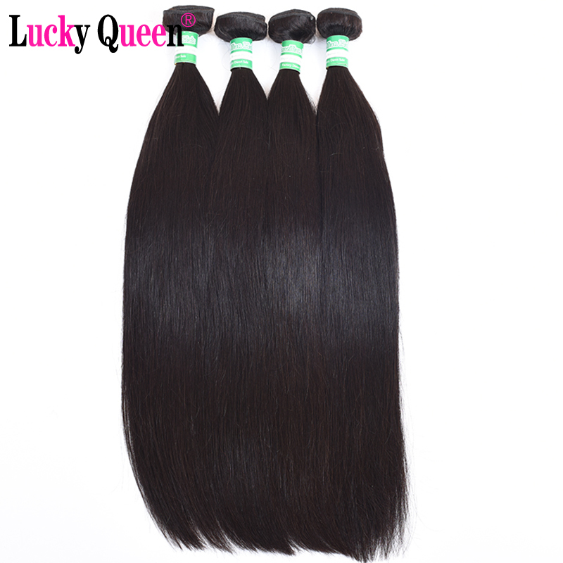 Lucky Queen Hair Products Indian Straight Hair 4pcs/lot Non Remy Hair Weave Bundles 100% Human Hair Extensions Natural color