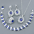New Blue Created Sapphire White Topaz 925 Silver Jewelry Sets For Women Bracelets/Necklace/Pendant /Drop Earrings/Rings Free Box