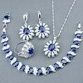 Novo Azul Criado Sapphire Branco Topaz 925 Prata Conjuntos de Jóias Para As Mulheres Pulseiras/Colar/Pingente/Brincos/anéis de Caixa Livre
