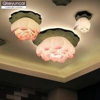 Qiseyuncai クリエイティブ新中国蓮天井ランプリビングルームの寝室のレストランのバルコニー通路アート蓮ラウンド照明 -