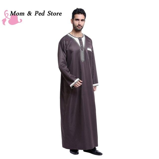 Мусульманин Исламская Одежда для мужчин Аравия абая плюс размер дубай мужская Кафтан длинные рукава Джуба 4 цветов