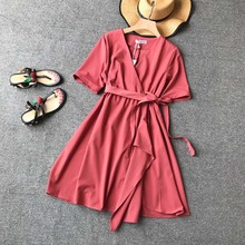 NiceMix 2018 new fashion womens dresses retro romantic V neck high waist irregular Midi dress female Summer Dress New Fashion