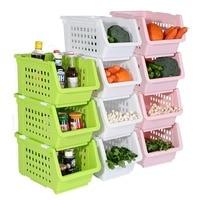 3/4pc Set Plastic Storage Box Stackable Baskets Kitchen Container Home Organiser Fruit Vegetable Storage Basket DQ9049