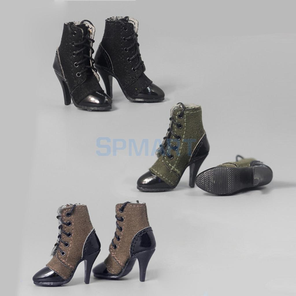 Lace Up High-Heeled Ankle Boots Shoes for 1//6 Scale Action Figure Hot Toys