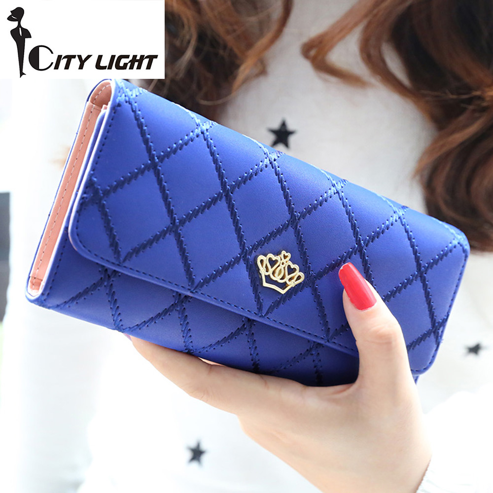 2016 new fashion women wallets Lingge metal crown lady long wallet  high quality clutch purse for women freeshipping сорочка ночная relax mode relax mode re040ewupt58