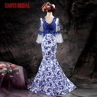 Schöne Langarm Nixe-abend-kleider Party auf Verkauf Frauen Prom Formale Abendkleider Kleider