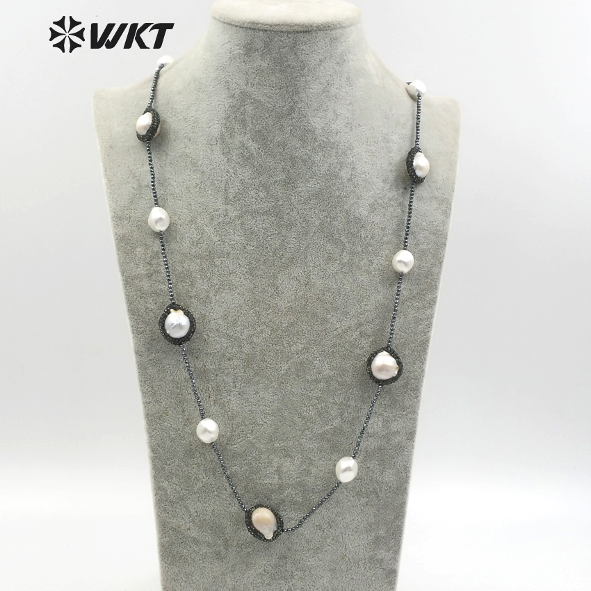 WT NV216 Rhinestone Crystal Pave Assorted Natural Pearl Beads Black Hematite Stone Necklace Fashion Jewelry Gift