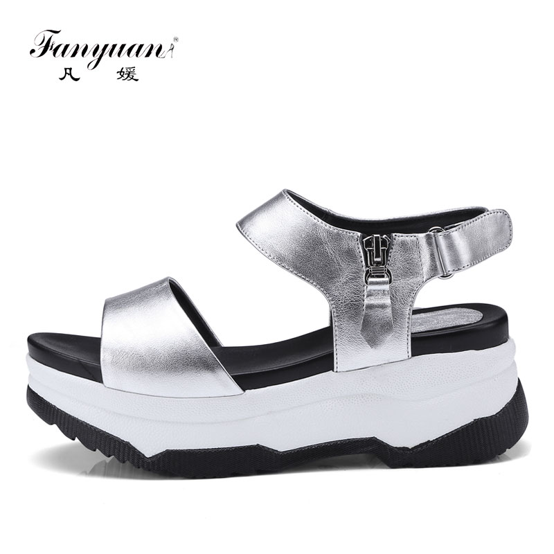 Fanyuan Cow Leather Flat Sandals Women Platform Shoes Summer Thick Bottom Silver Roman Sandals Outdoor Casual Female sandalie стоимость