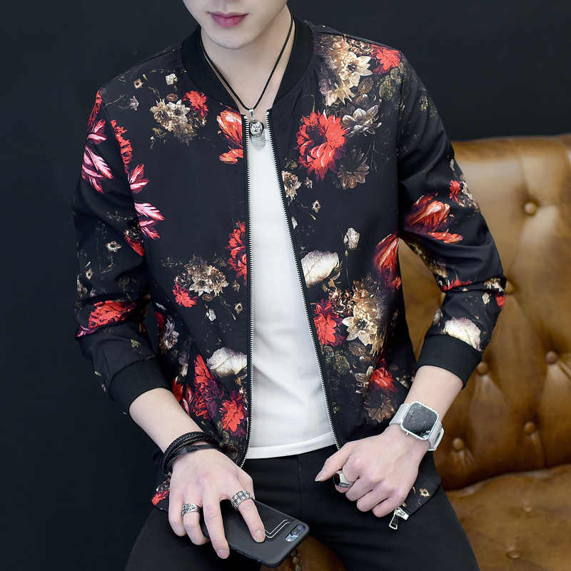 e105042a111 2018 Jacket Men Fashion Slim Fit Mens Floral Jackets Long Sleeve Casual  Bomber Jacket Brand Clothing