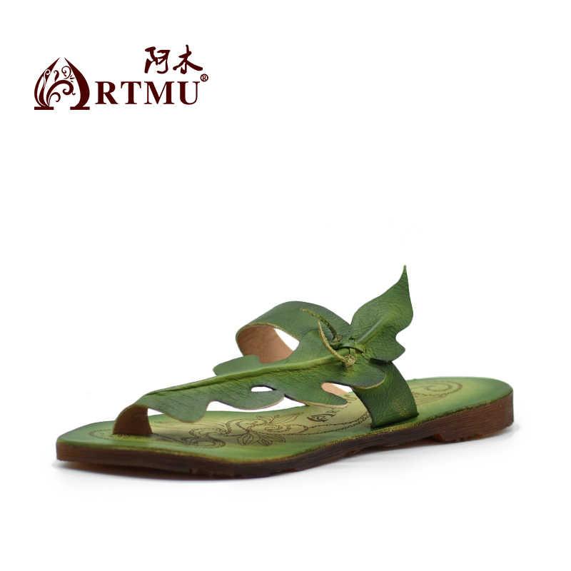 Artmu orijinal Vintage kişilik düz hakiki deri sandalet rahat yumuşak taban Flip flop yeni kadın terlik ZH349-1