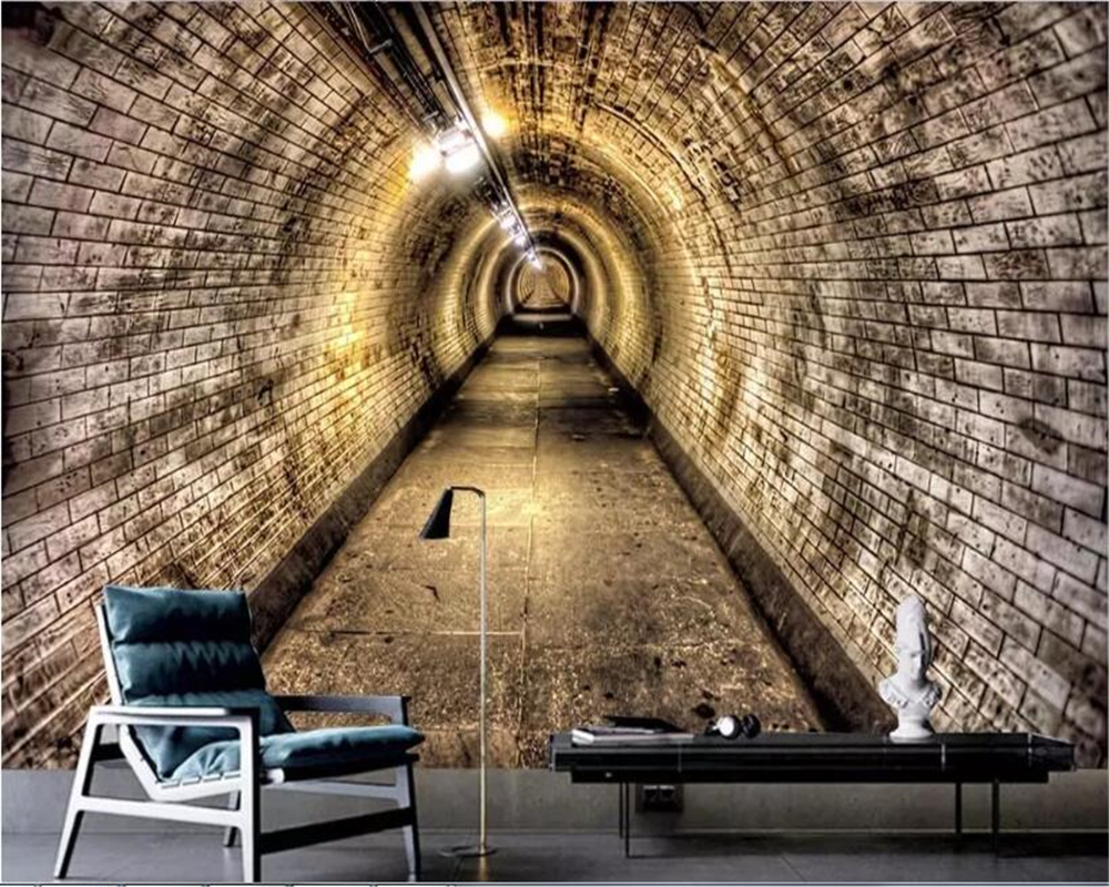 Beibehang 3D Wallpaper Dinding Kustom Stiker Dinding Industri Terowongan Angin Dinding Bata Terowongan Latar Belakang Wallpaper