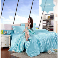 Hot Ice Silk 2.2M Four piece Single Double Double Silk Bed Quilt Cover Silk Bedding Home Textile Extra Large Bedding Package