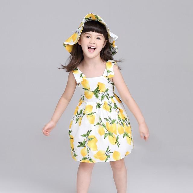 a3e34b3b2a Girls Summer Dress Floral Kids Clothes Cute Children Princess Lemon  Printing Baby Girls Dresses + Hat Suspender Dress
