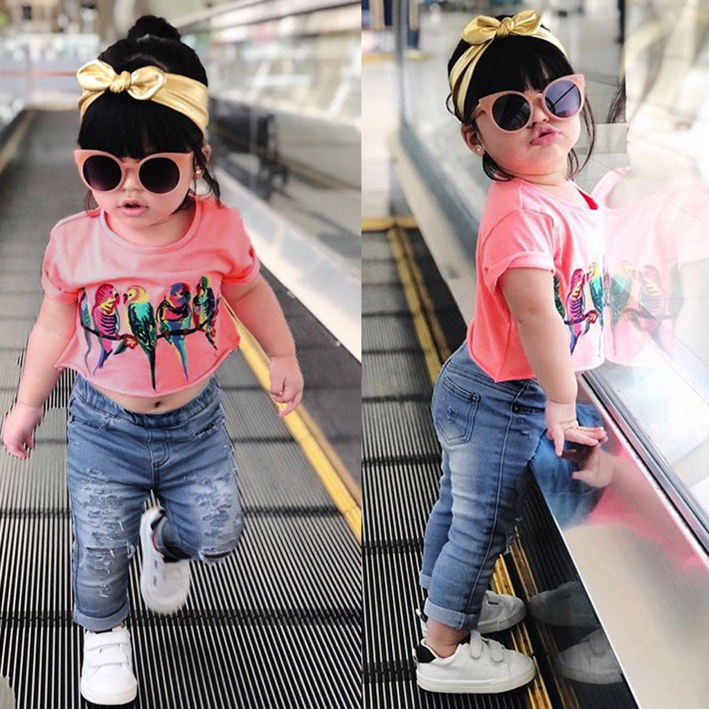 Trousers Pants Kids Casual Clothes Outfits US Toddler Baby Girls Tops T-shirt