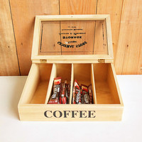 Wooden Coffee Tea Bag Storage Box Wood Cutlery Case Organizer Packet Grid Container Desktop Tea Boxes Gift Case