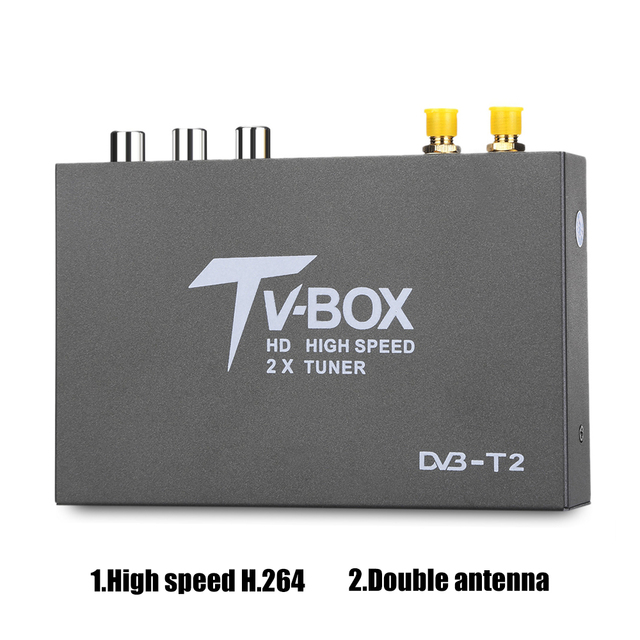 T338B HD DVB T2 Digital Car TV Tuner DVB T2 TV Box Receiver with 2