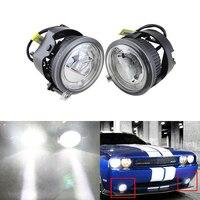 Xenon White Auto Car Led Fog Light W/ Guide DRL Halo Rings Kit Assembly For Chrysler Pacifica Sebring For Dodge Caliber Nitro