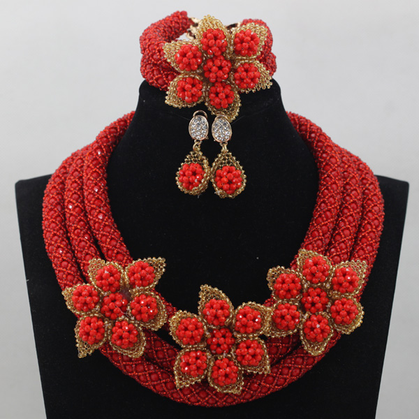 Flower Nigerian Wedding African Red Crystal Beads Jewelry Set Flowers Handmade Bride Necklace Jewelry Set Free ShippingABL963Flower Nigerian Wedding African Red Crystal Beads Jewelry Set Flowers Handmade Bride Necklace Jewelry Set Free ShippingABL963